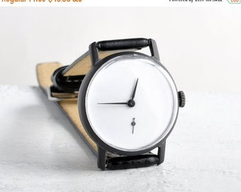 "SALE - Mens watch ,Soviet watch ,Russian watch ,minimal watch , minimalist watch, Mechanical watch ,black white watch,classic watch ""Victory"