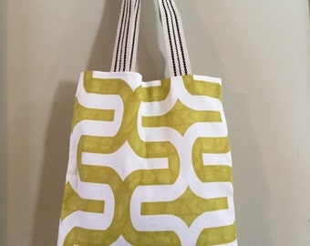 Market Tote Bag, Book Bag, Shoulder Bag in Key Lime Green Print Cotton - Ready to Ship