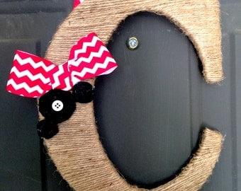 Twine Letter, Chevron Wreath, Jute Letter, Letter Wreath