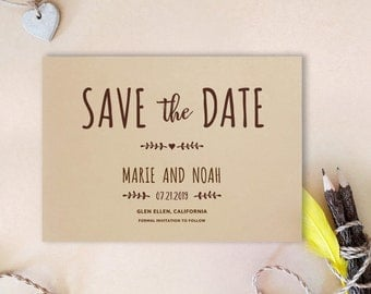 Simple save the date card | Kraft wedding save the dates  | Printed save the date cards for wedding | Woodsy save the date