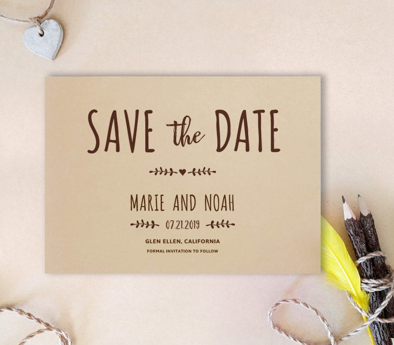 Simple save the date card Kraft wedding save the dates – Save the Date Cards for Weddings