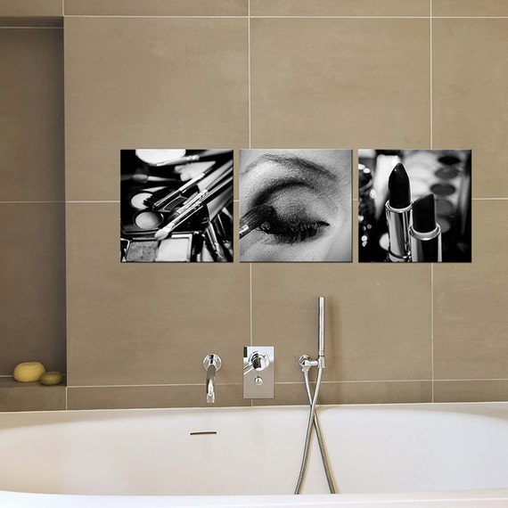 Bathroom decor canvas art black and white makeup by for Bathroom decor etsy