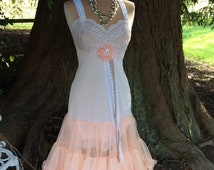 Upcycled Slip Dress Peaches and Cream Fairytale Delight