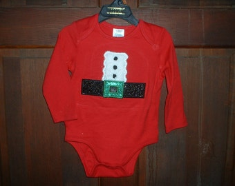 Red One Piece Santa Suit--12-18 Month-Christmas