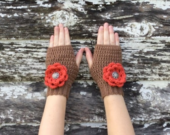 Fingerless Mitts with Three Interchangeable Flowers, Fingerless Gloves, Flower Mitts, Flower Gloves, Flower Fingerless Gloves