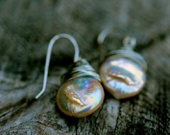 wire wrapped coin pearl earrings, coin pearl dangle earrings, single pearl earrings