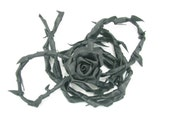 Black Leather Rose Belt/Wrap With Black Leather Strap