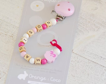 Pacifier clip, pacifier holder, baby gift, owl, girl baby gift, baby pink gift, baby shower, personalize baby gift, soother clip, gold