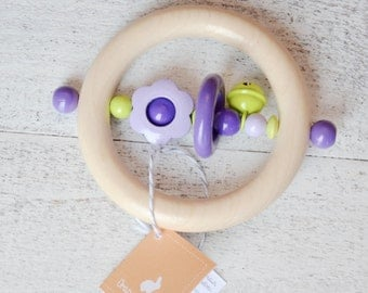Wooden teether, girl baby gift, baby shower gift, purple owl, natural baby toy, wood toy, baby rattle, rattle teether, rattle, baby gift