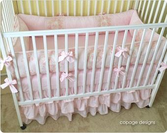 Pretty in Pink CHERUB TOILE Crib Baby Bedding Set / Angel Toile Crib Bedding / Girl Baby Bedding -- Includes Bumper Pad, Crib Skirt & Sheet