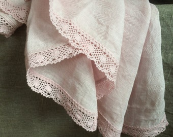 Pink bath towel with lace pink natural linen fishbone spa towel vintage style beach towel