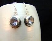 Alexandrite Silver Birthstone Earrings Handmade Sterling Silver Bezel Set Blue Purple Gemstone Drop Earrings