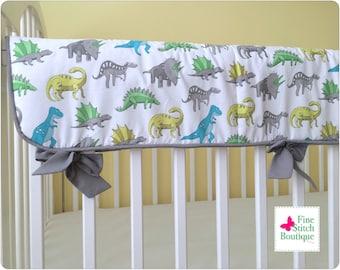 Dinosaurs CRIB RAIL PAD - Dinosaurs Crib Rail Guard - Baby Boy Crib Rail Cover - Baby Boy Nursery Decor - Dinosaurs Crib Rail Cover