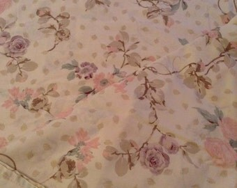 Pink floral vintage sheets Cannon full flat 50/50 double bed free shipping