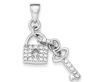 Sterling Silver CZ Lock and Key Pendant