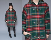 Plaid Wool Coat 1990's Hooded Jacket Preppy Red Green Tartan Wooden Toggle Button Up Oversize Slouchy Anorak Boyfriend Winter Jacket S M