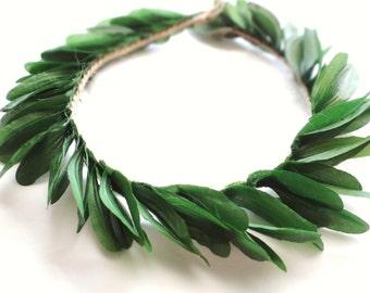 Dark Green Leaf Crown, Rustic Headpiece, Woodland, Leaf Crown