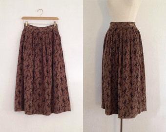 full midi skirt / floral midi skirt / long full skirt vintage high waisted corduroy brown