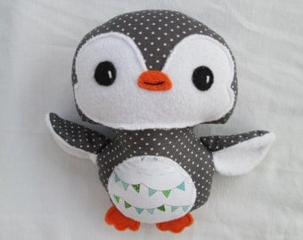 Penguin Softie- Ready to Ship- Gray Polka Dot- 7 inch- Baby or Toddler Christmas toy, plush penguin