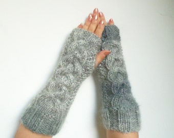 Grey Knitted Long Fingerless Gloves. Wool Super ChunkyArm Warmers. Mittens. Long Grey Mohair Gloves. Warm Long Cable Arm Warmers