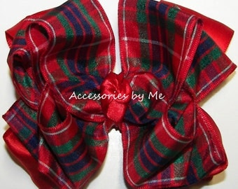 Plaid Hair Bow, Fraser Scottish Tartan Hairbow, Red Green Royal Blue Bow Hair Bands, Girls Plaid Christmas Clip, Holiday Pageant Wedding Bow