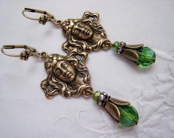 Art Nouveau Victorian Vintage Style Flower Maiden Woman Dangle Earrings Green Teardrop Bead Earrings Ox Antique Brass Lever Back Rhinstone