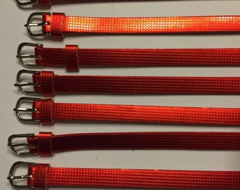 5 or 10 mettalic red 8mm slider bracelet bands made of PU leather