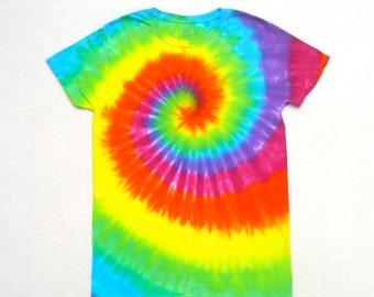 SALE! Medium Tie Dye Shirt- Bright Rainbow Spiral