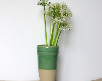 Stoneware vase Green vase Pottery vase Clay vase Ceramic and pottery Arranging  flowers Modern vase Medium vase One of a kind simple vase