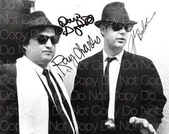 Blues Brothers signed John Belushi  Dan Aykroyd  Ray Charles 8X10 photo picture poster autograph RP