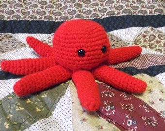 Red octopus amigurumi, crochet octopus, ready to ship