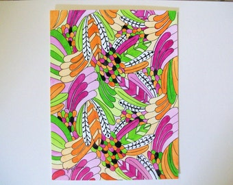 Original painting Neon Tropical in watercolor and ink. Painted by Joyce using artist grade paints and paper.