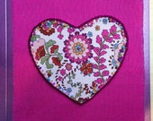 Textile greeting card with heart design, embroidery and bead detail