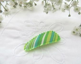 Green stripe mini snap clip