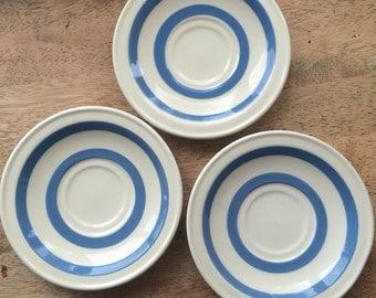 Vintage Carrigaline Blue & White Striped Saucers , made in Cork Ireland