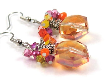 MAJOR MARKDOWN - Bright Orange Magenta Yellow Wire Wrapped Crystal Cluster Statement Earrings