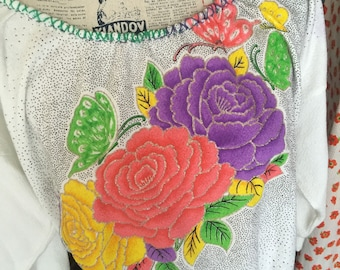 Taking the garden for a walk - 70s hand painted dolman 3/4 sleeves top