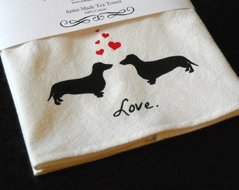 Dachshund Tea Towel, Screen Printed, Valentines Day, Mothers Day Gift, Gifts for Mom - Dachsunds in Love
