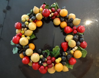 "Vintage Della Robbia Lacquered Spun Cotton Fruit Christmas Door Wreath - 14"" -  Colorful Year Round Door Wreath - Vintage Christmas Decor"