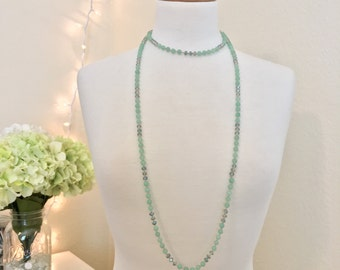 Double Wrap, Hand-knotted Necklace - Jade Green