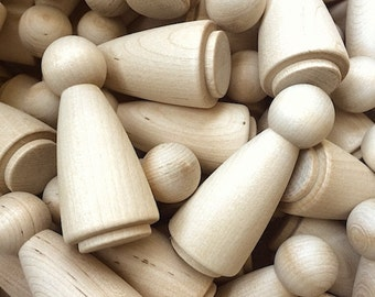 10 Wood Little People Doll Body, Woman - Unfinished Wooden Craft Supplies