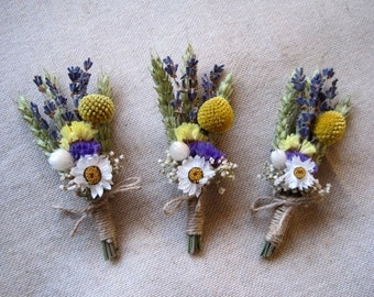 Mariage de jardin pays boutonnières ensemble de boutonnières de mariage jaune et bleu-6, rustiques de mariage, séché épingles à fleurs ferme mariage