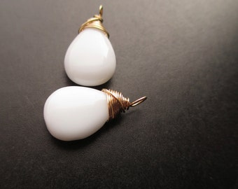 WHITE AGATE wire wrapped gemstone Interchangeable Earring drops, dangles, charms, Pair of genuine briolettes