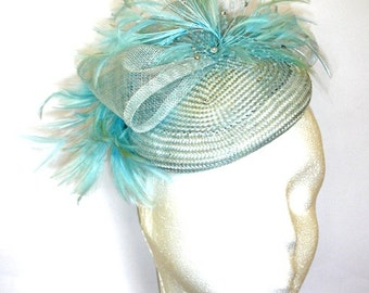 Blue Fascinator, Pale Blue Sinamay Hat, Fascinator, Wedding hat, Pillbox Hat,