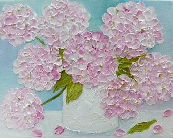 Custom Small Hydrangea Painting, Oil Impasto, Wedding Gift, Anniversary, Still Life