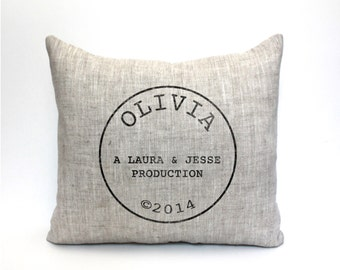 """baby gift, baby pillow, baby shower gift, child's name pillow, personalized pillow, birthday pillow - """"The Olivia"""""""