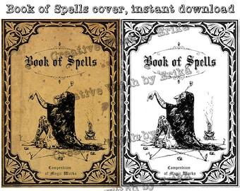 Book of spells, digital book cover printable