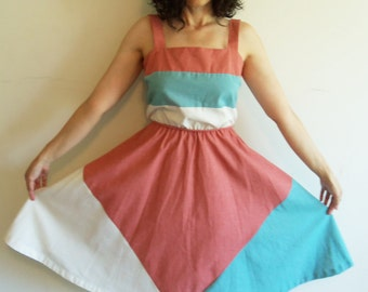 Awesome Vintage Color Block 70s Sleeveless Day Dress