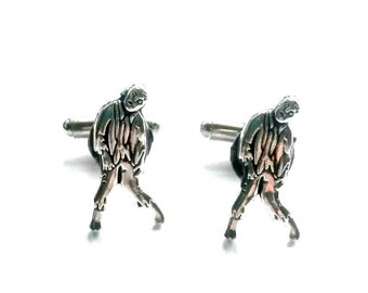 Zombie Cuff Links Antique Silver TWD Men's Jewelry Accessory Handmade Gift
