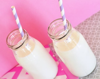Small Dairy Milk Bottles / jars for wedding and party drink stations